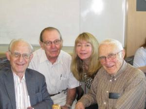Picture of Arno Motulsky, George Stamatoyannopoulos, Gail Jarvik and Stan Gartler at Arno and Stan's 90th birthday party